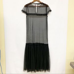 Zara Trafaluc Sheer Black Maxi Overlay Goth Dress